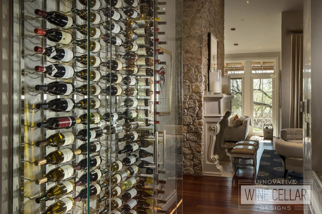 Contemporary Glass Wine Wall Cellar