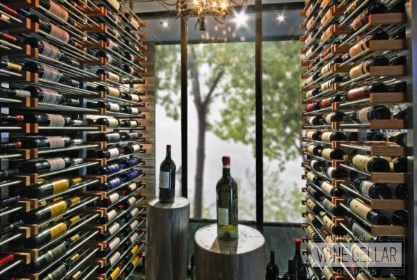 custom wine bottle storage with wood and glass window