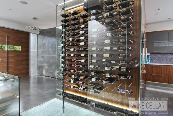 Custom wine bottle storage in home kitchen with custom lighting and glass entry