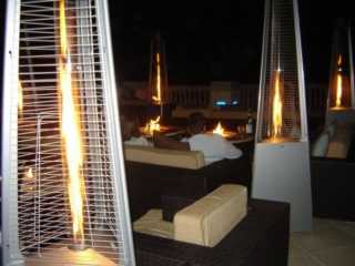 Ferrara Flame Outdoor Heater for Commercial Outdoor Lounge at Night