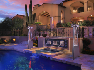 Ferrara Flame Outdoor Heater by poolside and pathways for AZ home.