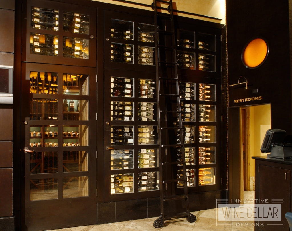 Wine cabinet display in upscale restaurant