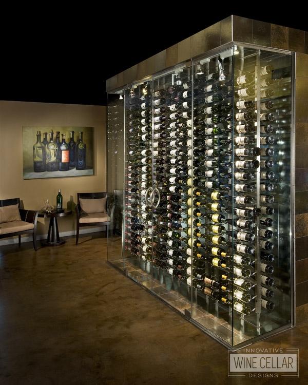Free standing glass wine cellar