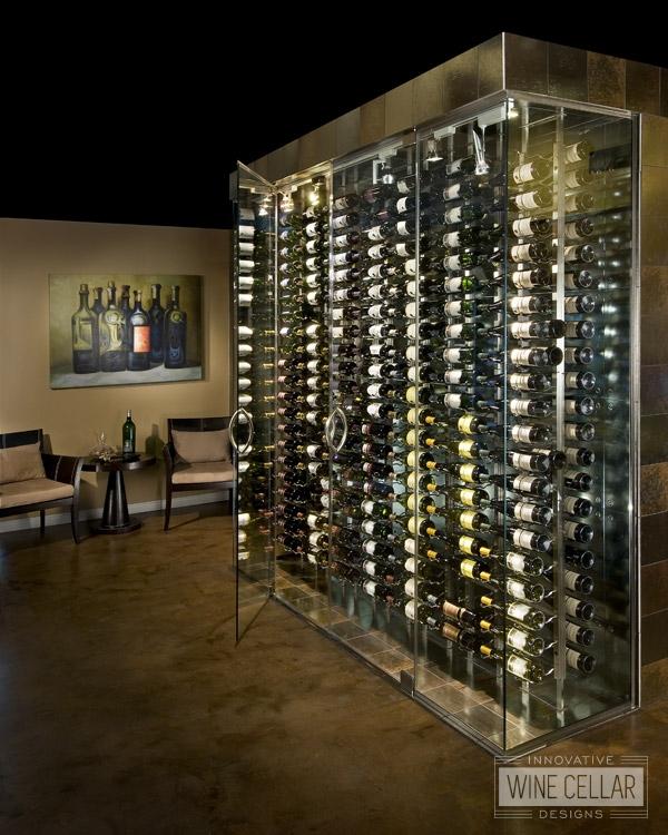 Free standing glass door wine cellar