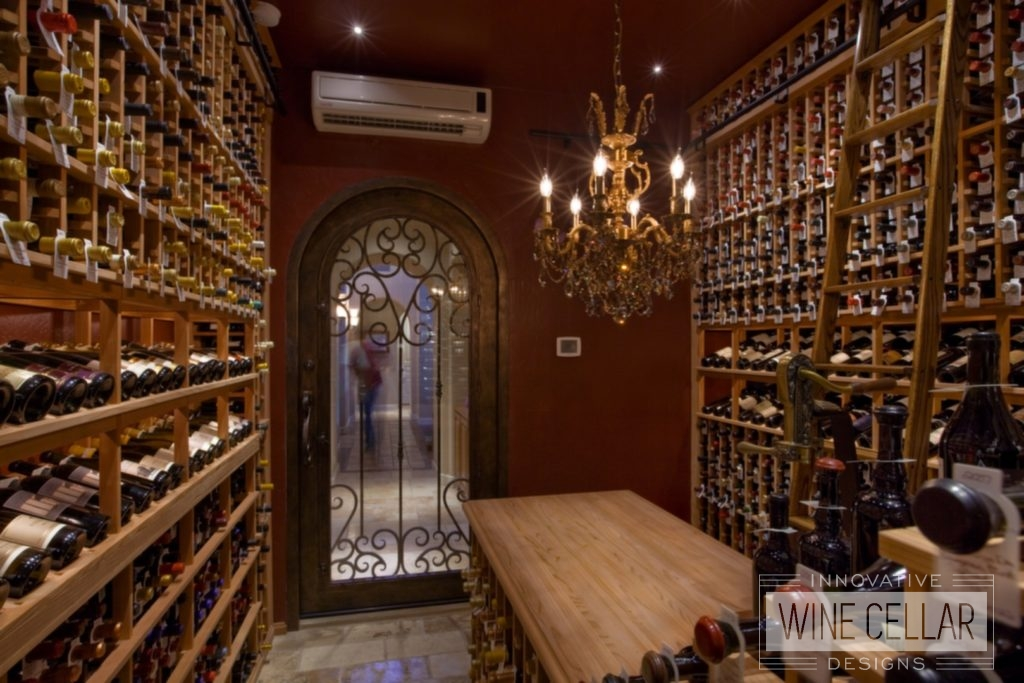 Floor to Ceiling Custom Wood Wine Racks in Temperature Controlled Wine Cellar