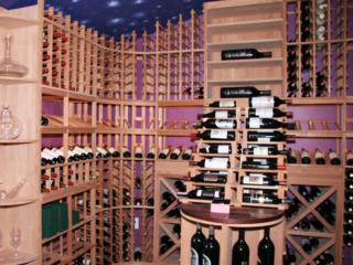 Custom Wood Wine Racks and Night Sky Designed Ceiling