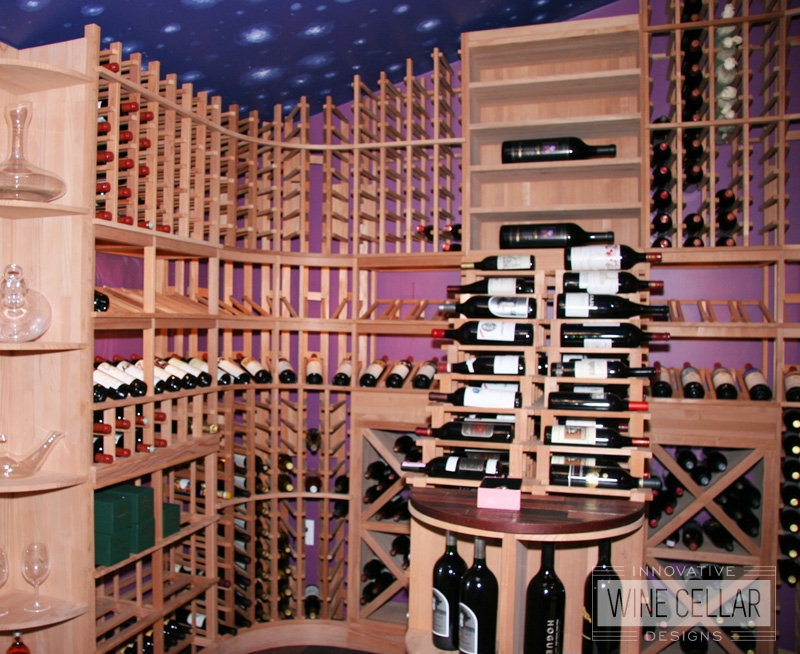 Custom Wood Wine Racks and Night Sky Designed Ceiling