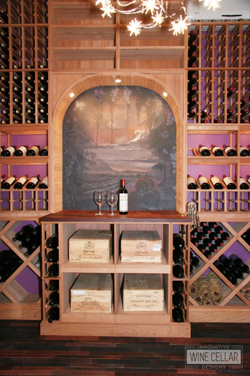 Custom Wood Wine Racks and Flooring in Wine Room by Innovative Wine Cellar Designs