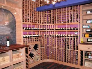 Custom Wood Wine Racks and Flooring in Wine Room by Innovative Wine Cellar Designs