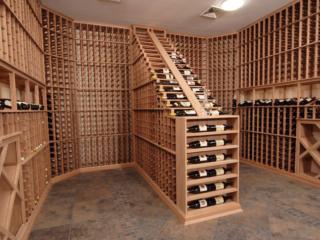 Floor to Ceiling Pine Wood Wine Racking Custom Designed by Innovative Wine Cellar Designs