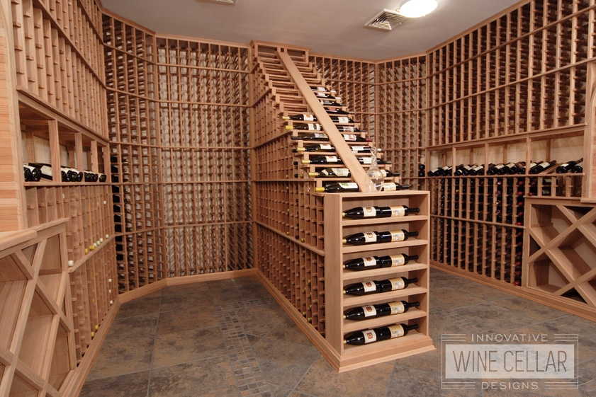 Floor to Ceiling Pine Wood Wine Racking Custom Designed by Innovative Wine Cellar Designs