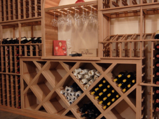 Wood Wine Racking for Bottles and Glasses