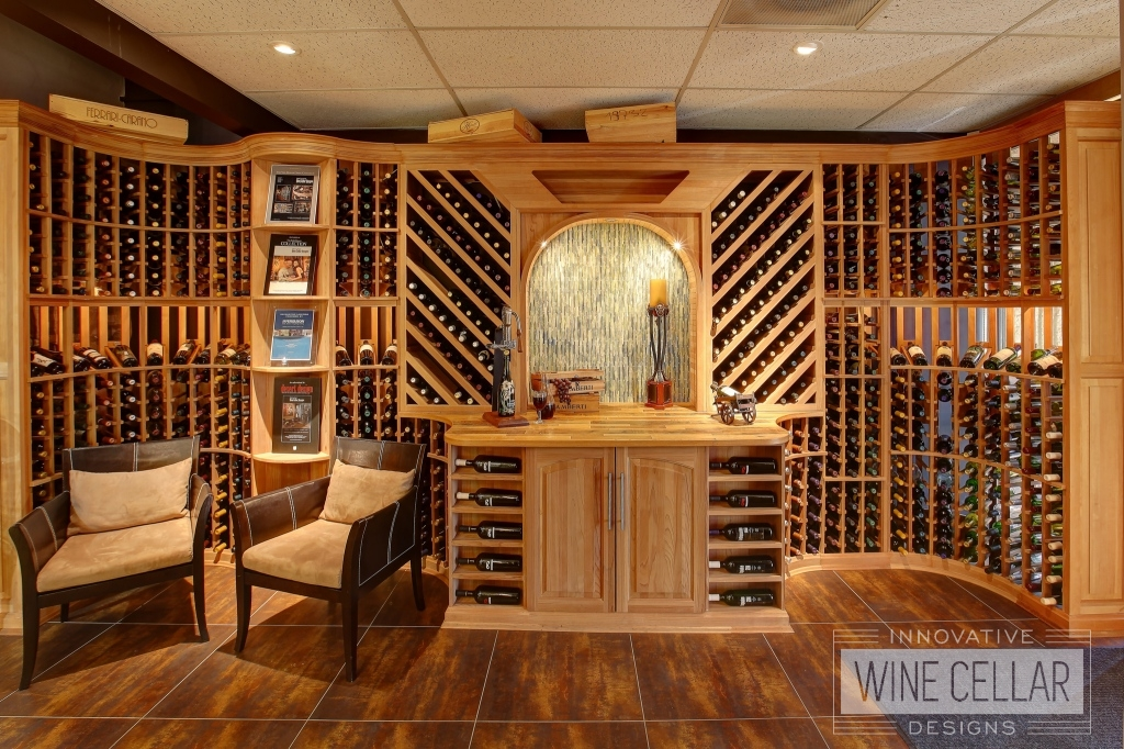 Custom Wood Wine Racks with Accent Lighting by Innovative Wine Cellar Designs
