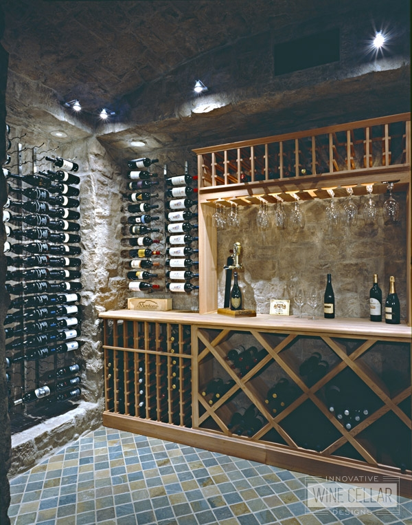 Custom Wood Wine Racking in Wine Cave by Innovative Wine Cellar Designs