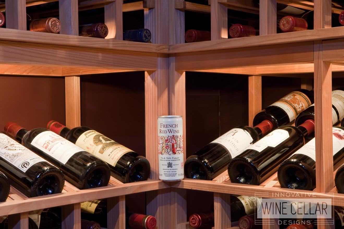 Custom Wood Wine Racks with Accent Lighting