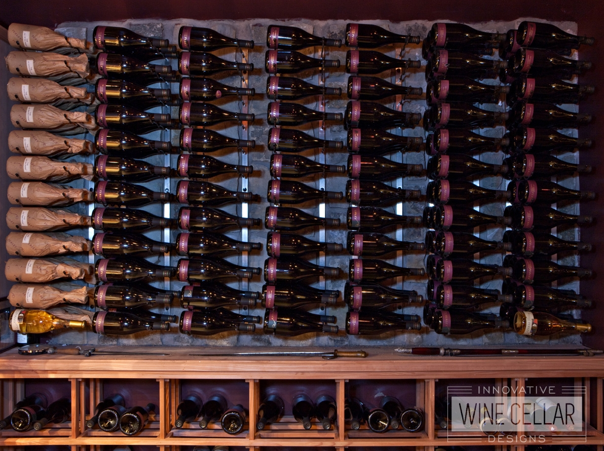 Traditional wine cellar, custom design & install by Innovative Wine Cellar Designs.