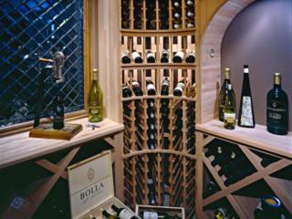 Wood Wine Racks in Custom Built Wine Cellar