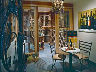Wood Wine Racks in Modern Wine Cellar