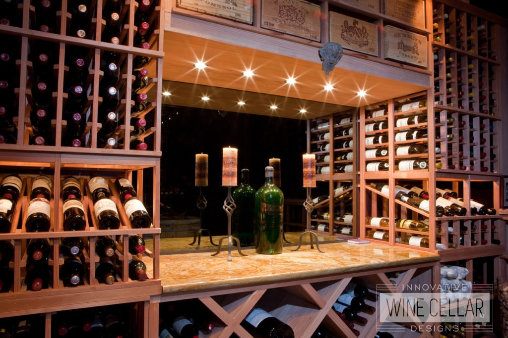 Custom Wood Wine Racks and Accent Lighting