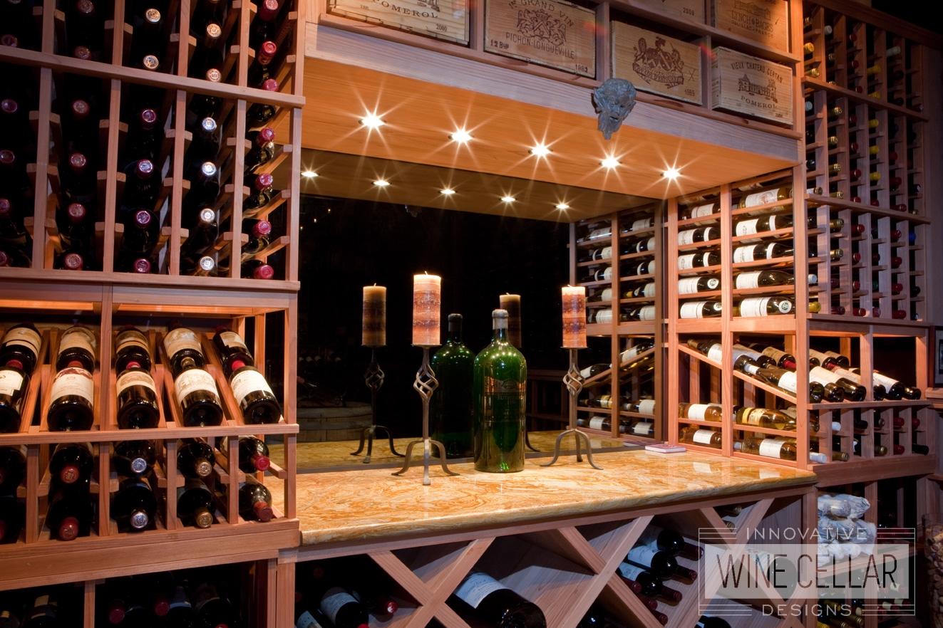Custom Wood Wine Racks and Accent Lighting