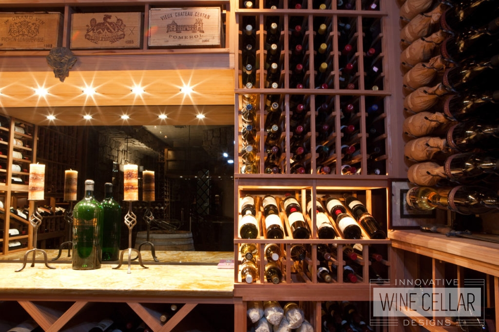 Wood and Metal Wine Racks in Custom Designed Wine Cellar