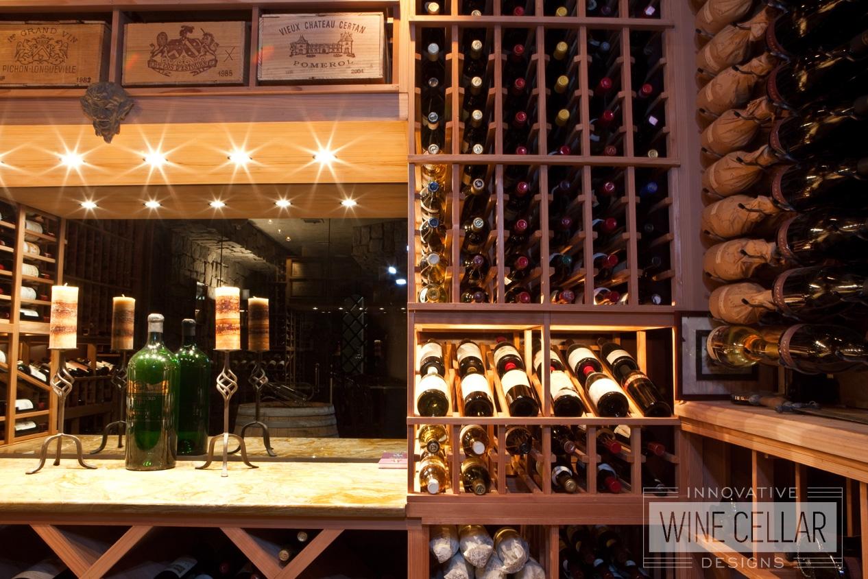 Wood and Metal Wine Racks in Custom Designed Wine Cellar