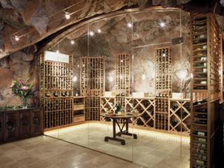 Custom Wood Wine Racks in Wine Cave
