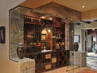 Custom Wood Wine Rack Shelving in Temperature Controlled Wine Storage Area