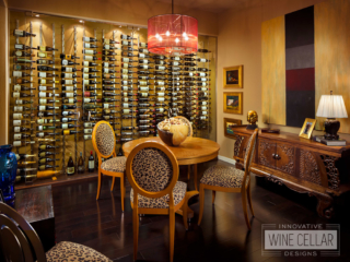 Contemporary glass wine cellar wall, custom design & install by Innovative Wine Cellar Designs.