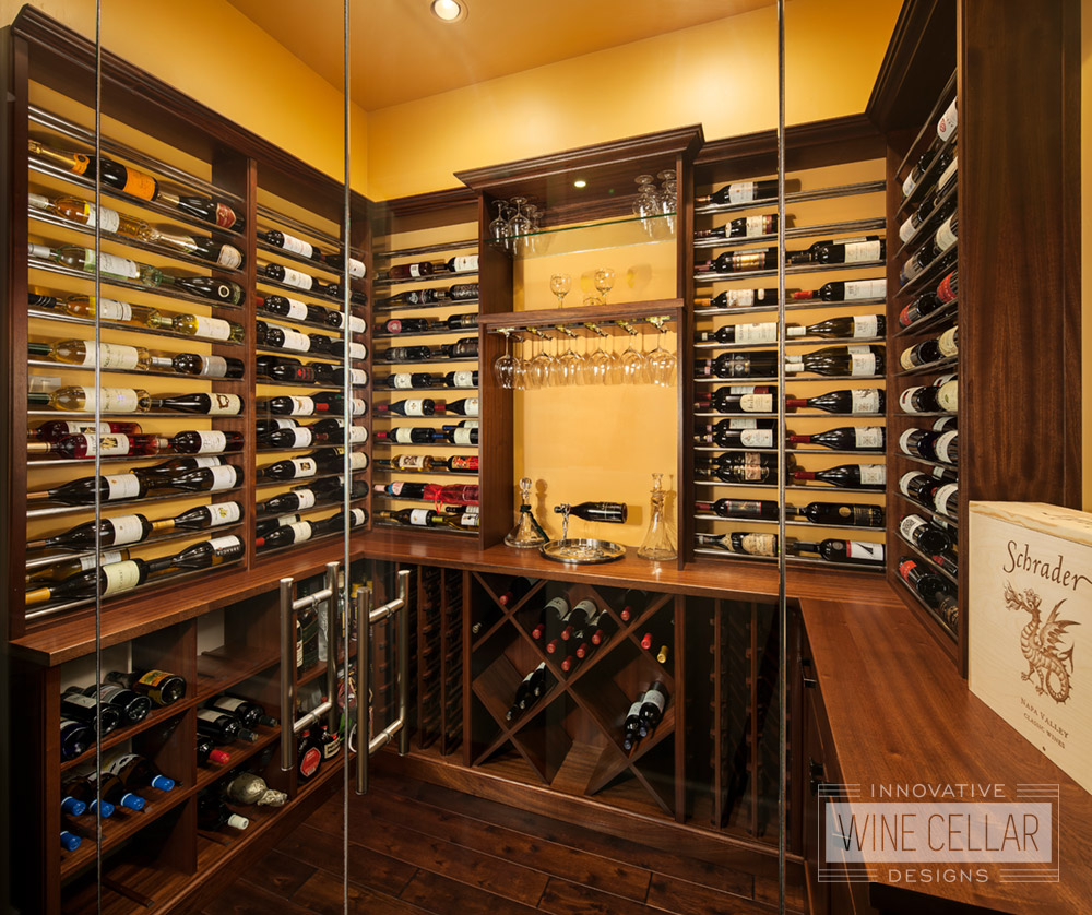 Transitional Style Custom Wine Cellar
