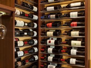Transitional Style Corner Detail Wine Racks