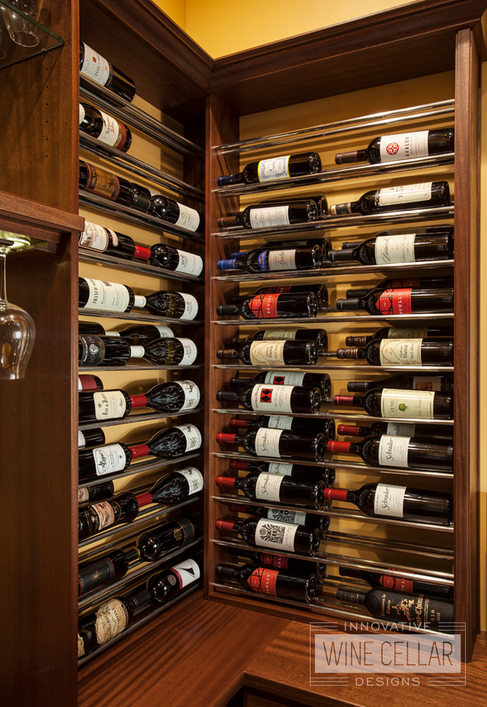 Transitional Style Corner Detail Wine Racks