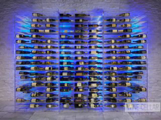 Modern metal wine storage rack setup with blue LED backlight accents.