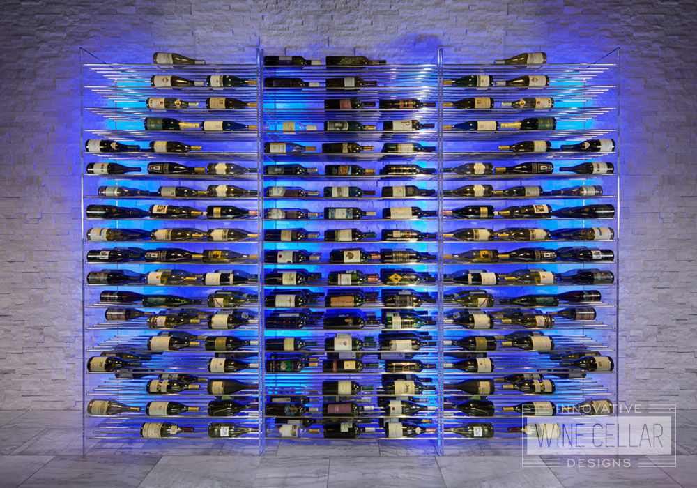 Modern metal wine storage rack setup with blue LED backlight accents.