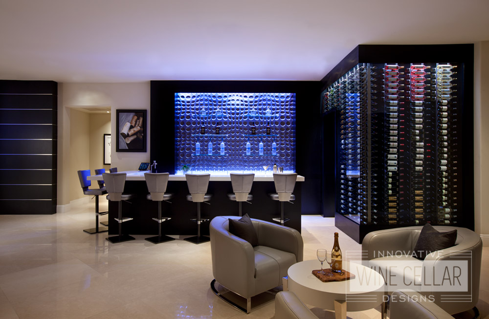 Modern wine cellar & bar, custom design & install by Innovative Wine Cellar Designs.