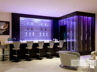 Modern wine cellar & bar, custom design & install by Innovative Wine Cellar Designs.
