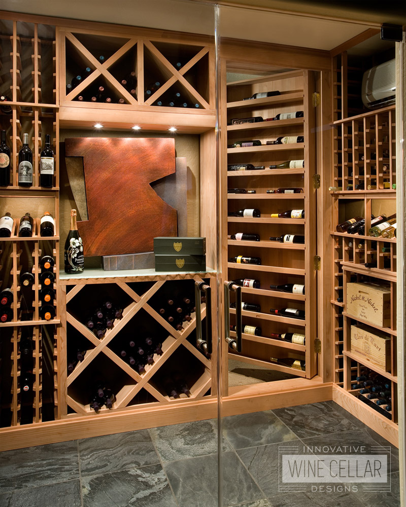 Transitional Wine Room with Wood Racks and Secret Door