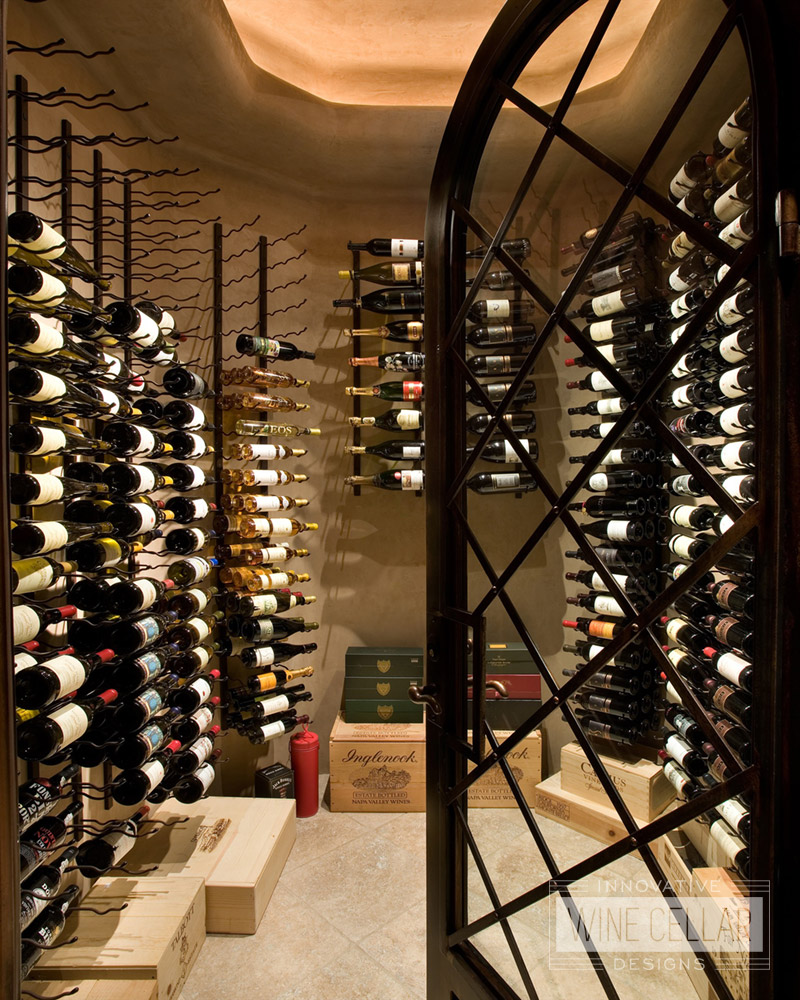 Transitional Style Oval Wine Cellar
