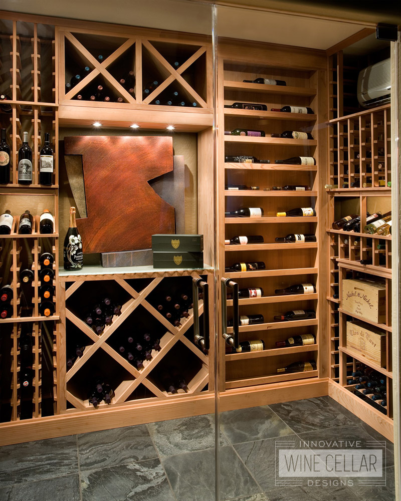 Transitional Wine Room with Wood Racks