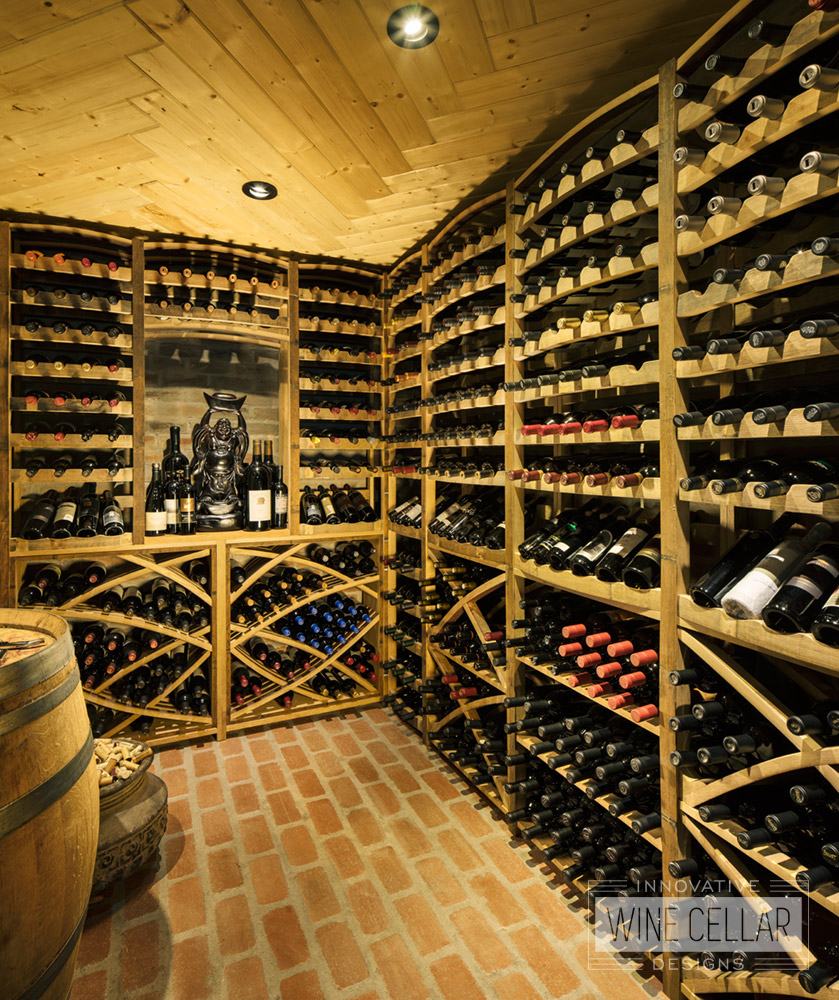 Reclaimed wine barrel wine cellar, custom design & install by Innovative Wine Cellar Designs.