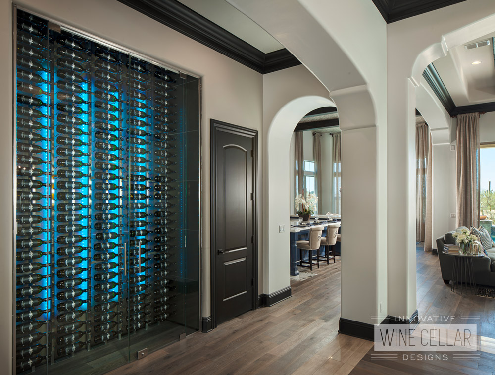 Contemporary wine wall cellar, custom design & install by Innovative Wine Cellar Designs.