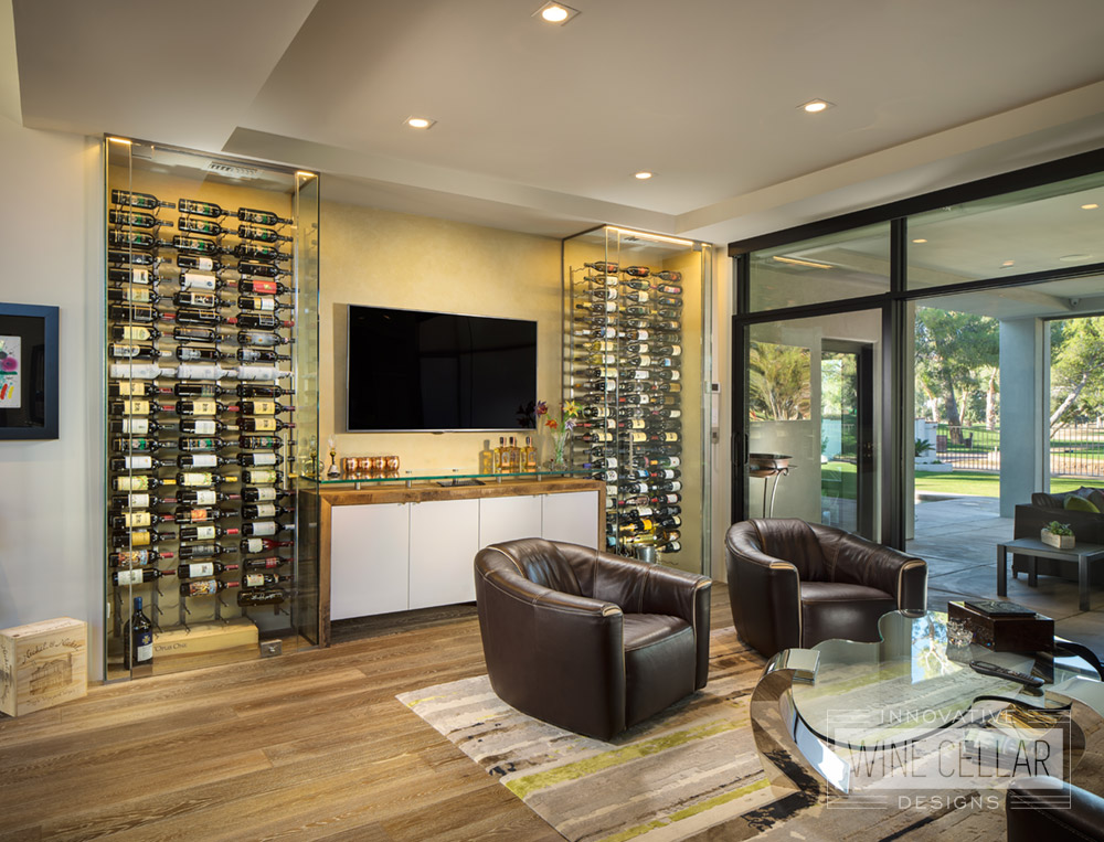 Contemporary glass dual temp wine cellar, custom design & install by Innovative Wine Cellar Designs.