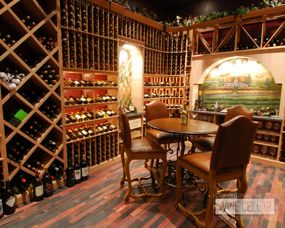 Custom Wine Tasting Room and Wine Racks by Innovative Wine Cellar Designs