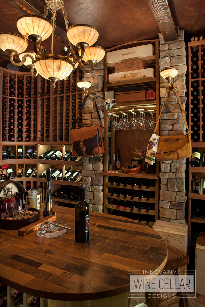 Reclaimed wine barrel & mahogany wine cellar