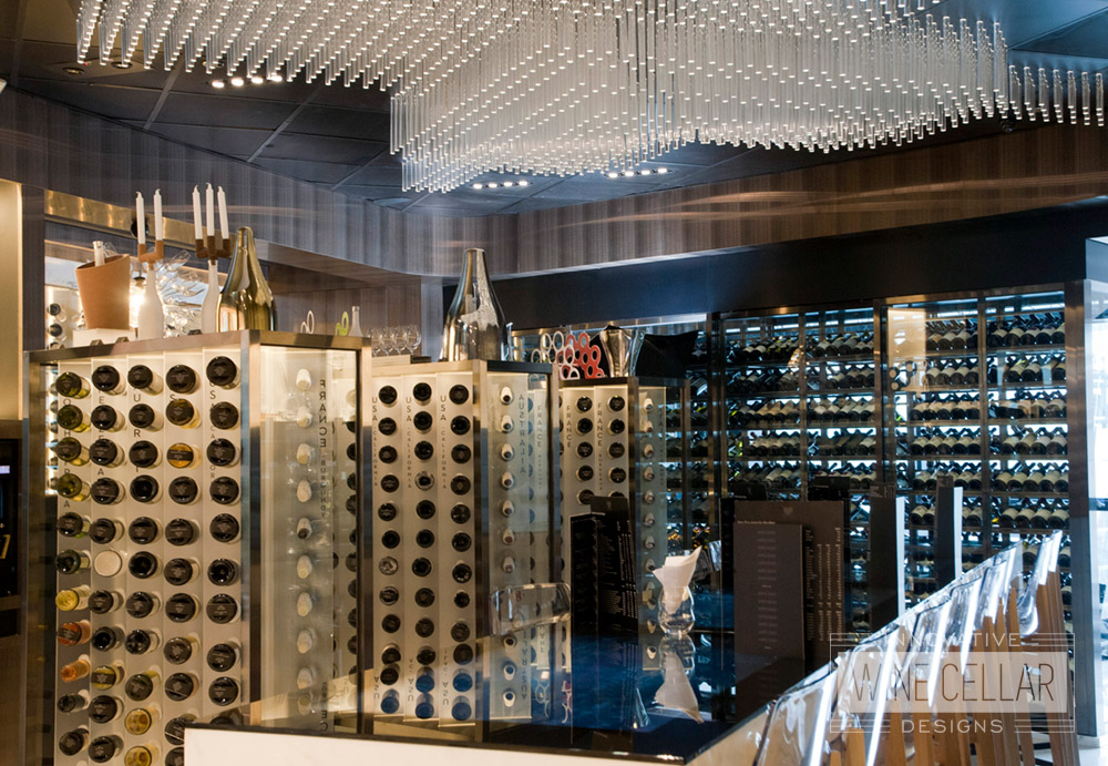 Glass Wine Wall & Labeled Wine Racking for Commercial Businesses