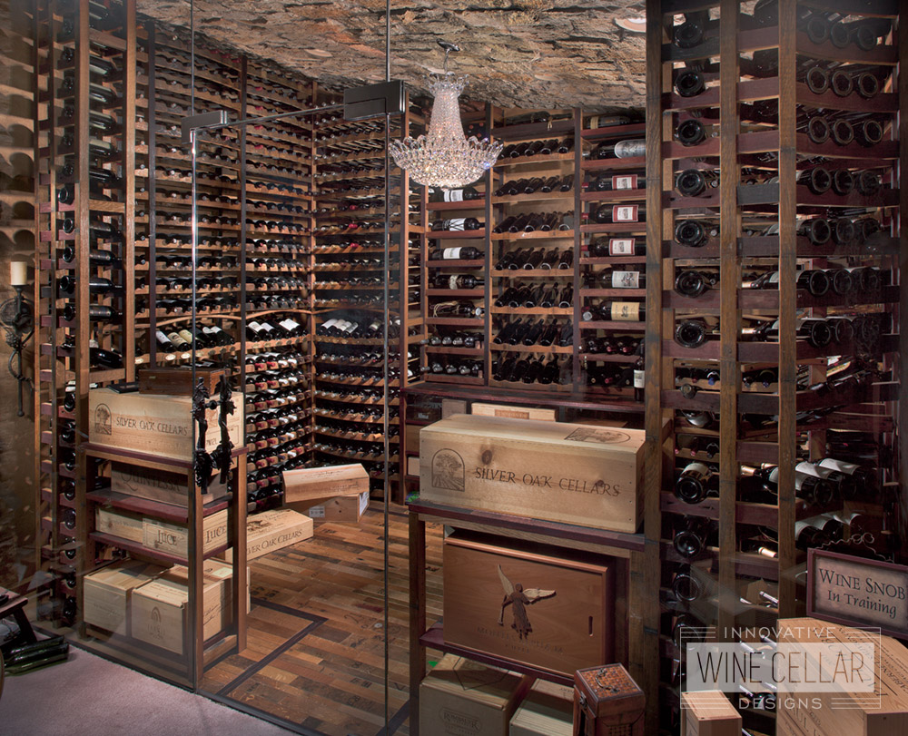 Reclaimed wine barrel racking & flooring in wine cellar