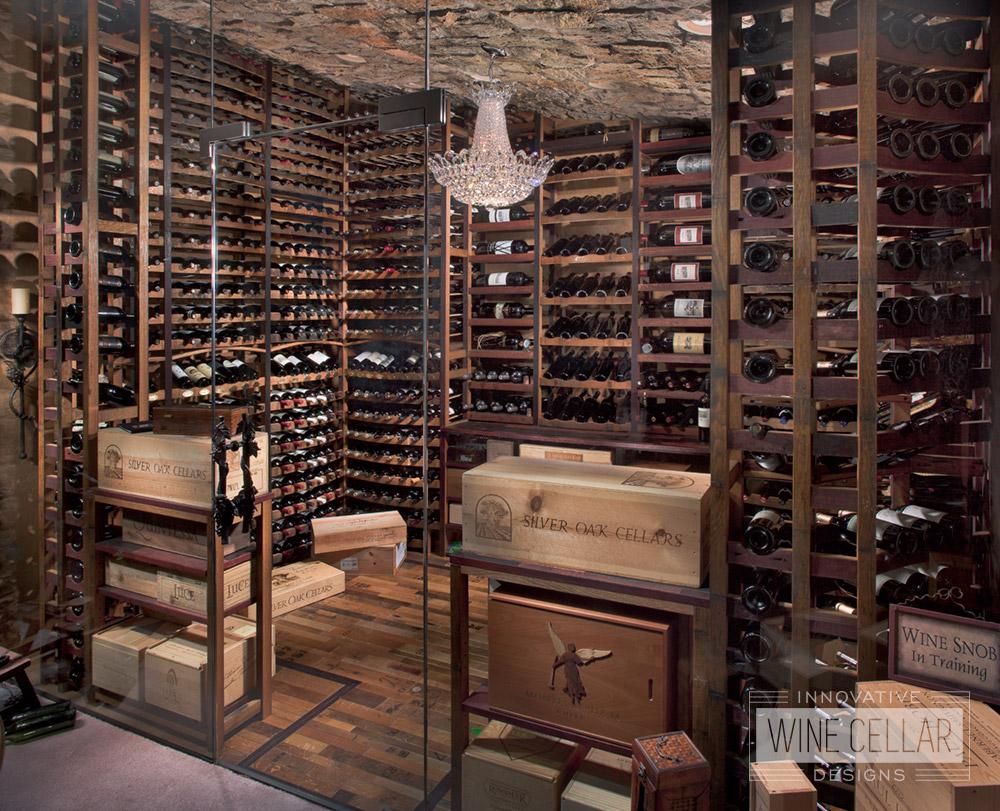 Reclaimed wine barrel cellar, custom design & install by Innovative Wine Cellar Designs.