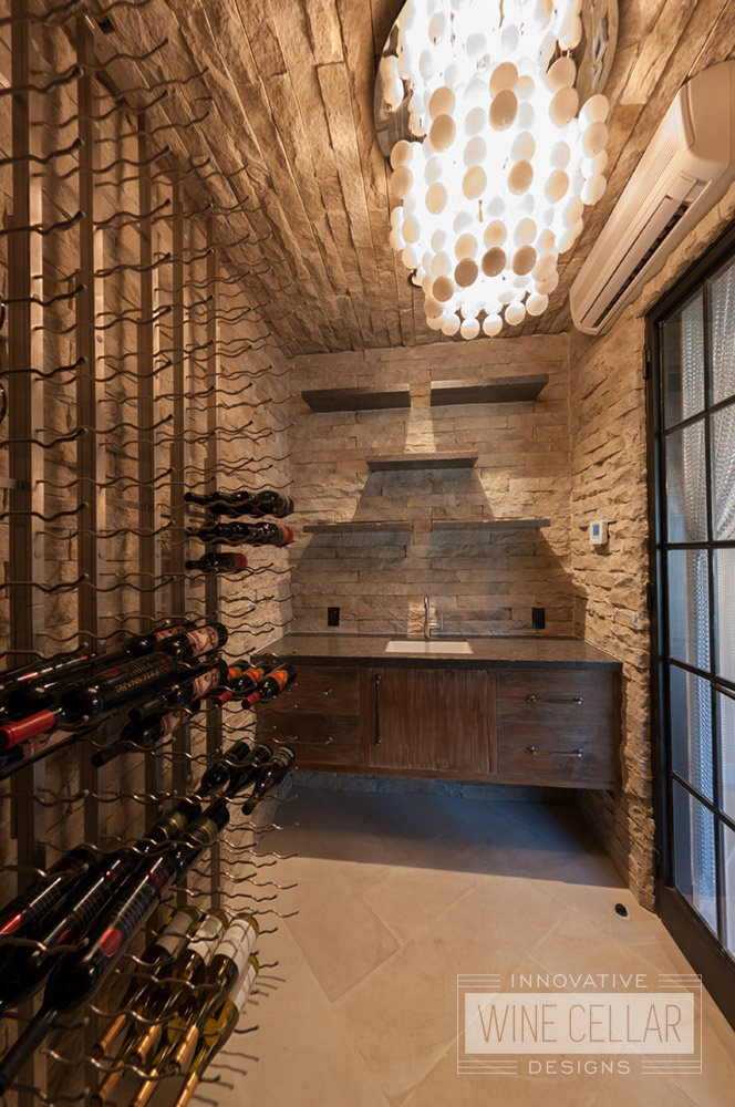 House of Rock Transitional Style Wine Room