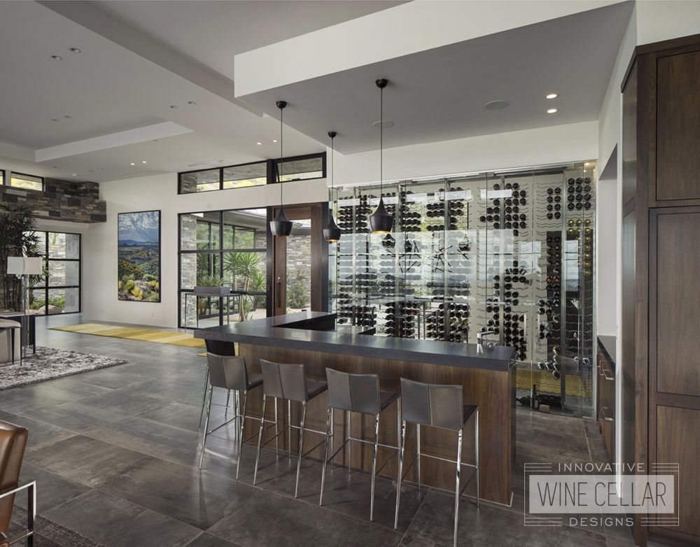 Modern kitchen wine wall cellar, custom design & install by Innovative Wine Cellar Designs.