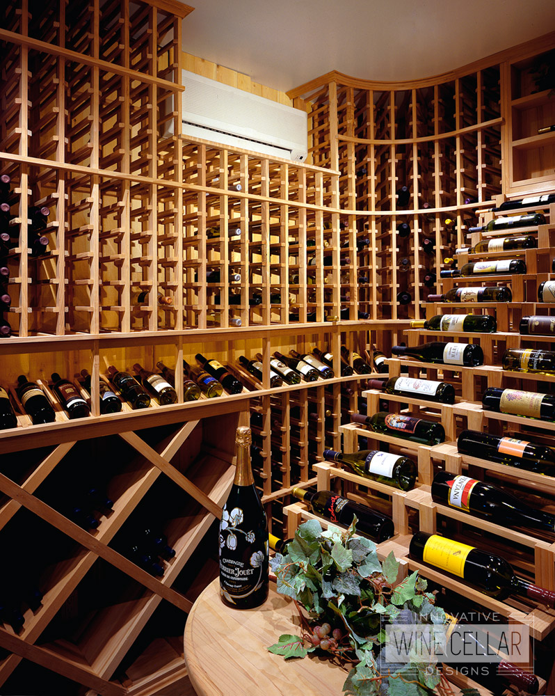 Custom Wood Wine Racks in Temperature Controlled Wine Cellar